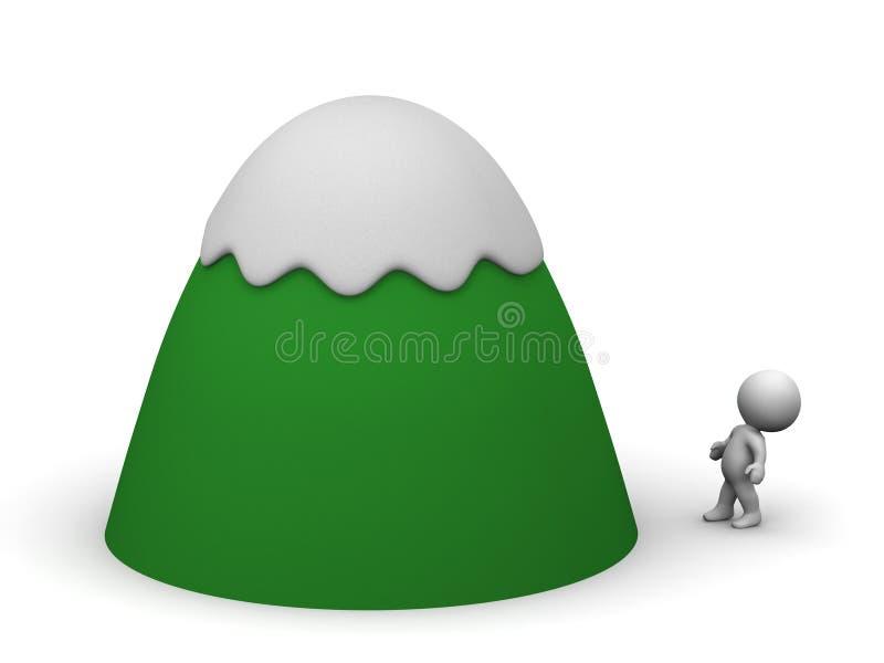 Μικρός τρισδιάστατος χαρακτήρας που ανατρέχει συνολικά βουνό Cartoonish ελεύθερη απεικόνιση δικαιώματος