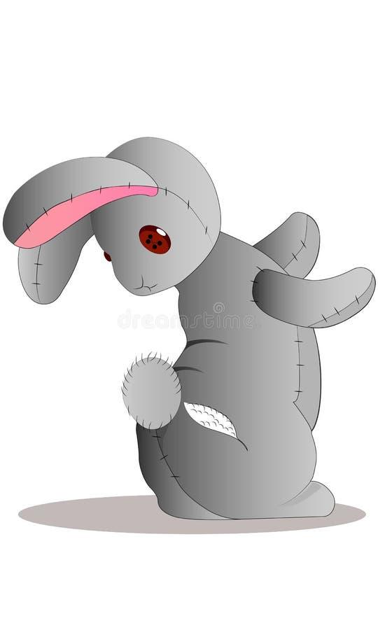 Μικρός λυπημένος λίγο χαριτωμένο γκρίζο κουνέλι κινούμενων σχεδίων στοκ φωτογραφία