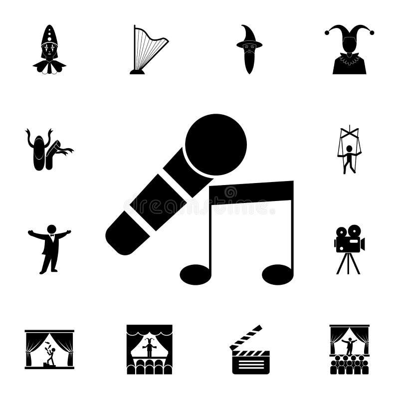 μικρόφωνο και μουσικό εικονίδιο σημειώσεων Λεπτομερές σύνολο εικονιδίων θεάτρων Γραφικό σχέδιο ασφαλίστρου Ένα από τα εικονίδια σ απεικόνιση αποθεμάτων