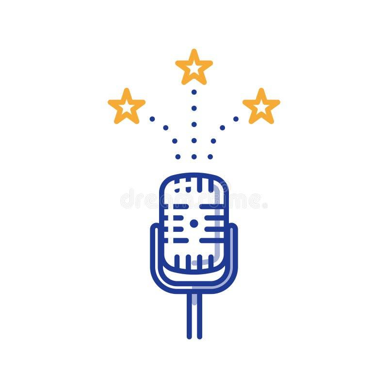 Μικρόφωνο κωμωδιών, ψυχαγωγία podcast, έννοια ραδιοφωνικής αναμετάδοσης διανυσματική απεικόνιση