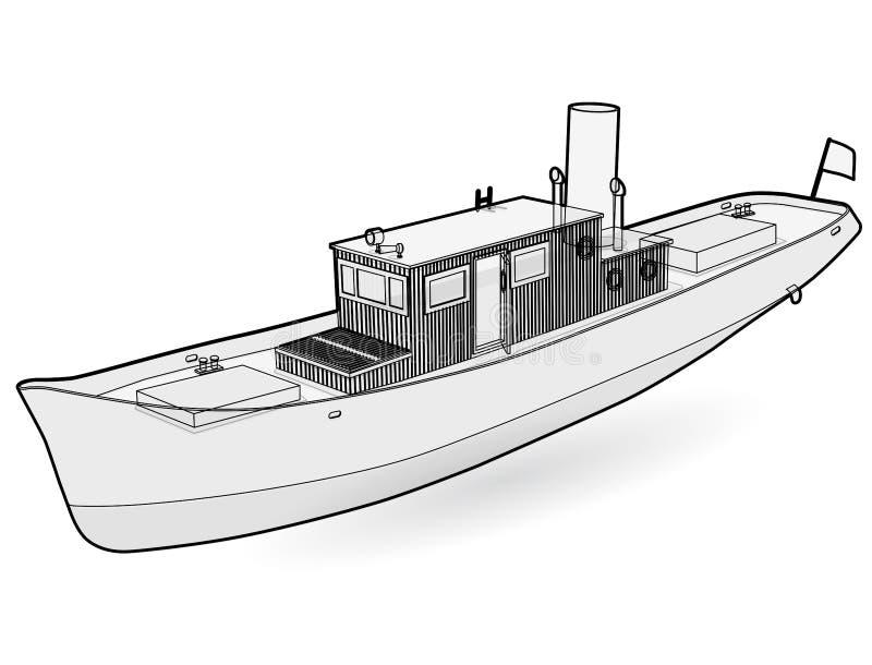Μικρό ατμόπλοιο ποταμών με τη μεγάλη καπνοδόχο Περιγραμμένη βάρκα, ατμόπλοιο θάλασσας για την αλιεία ελεύθερη απεικόνιση δικαιώματος