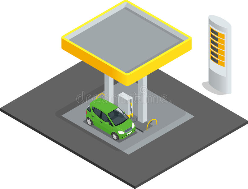 Μικρό βενζινάδικο Αυτοκίνητα σταθμών ξαναγεμισμάτων βενζίνης πετρελαίου αερίου Επίπεδο τρισδιάστατο διάνυσμα έννοιας Ιστού isomet απεικόνιση αποθεμάτων