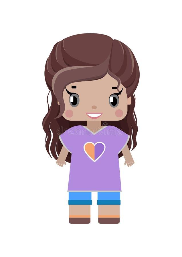 μικρό γλυκό κορίτσι με τη μακριά καφετιά κυματιστή τρίχα ελεύθερη απεικόνιση δικαιώματος