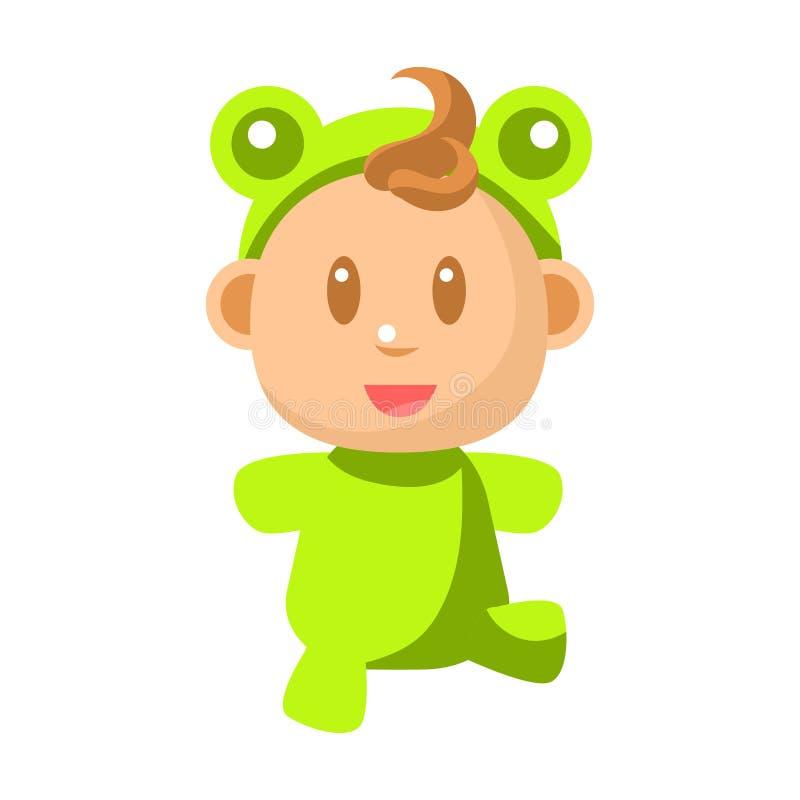 Μικρό ευτυχές μωρό που περπατά στις πράσινες διανυσματικές απλές απεικονίσεις κοστουμιών βατράχων με το χαριτωμένο νήπιο διανυσματική απεικόνιση