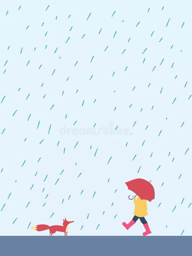 Μικρό εύθυμο παιδί που περπατά με την ομπρέλα στην αλεπού συνεδρίασης της βροχής Χαριτωμένος, λατρευτός, όμορφος χαρακτήρας κινου απεικόνιση αποθεμάτων