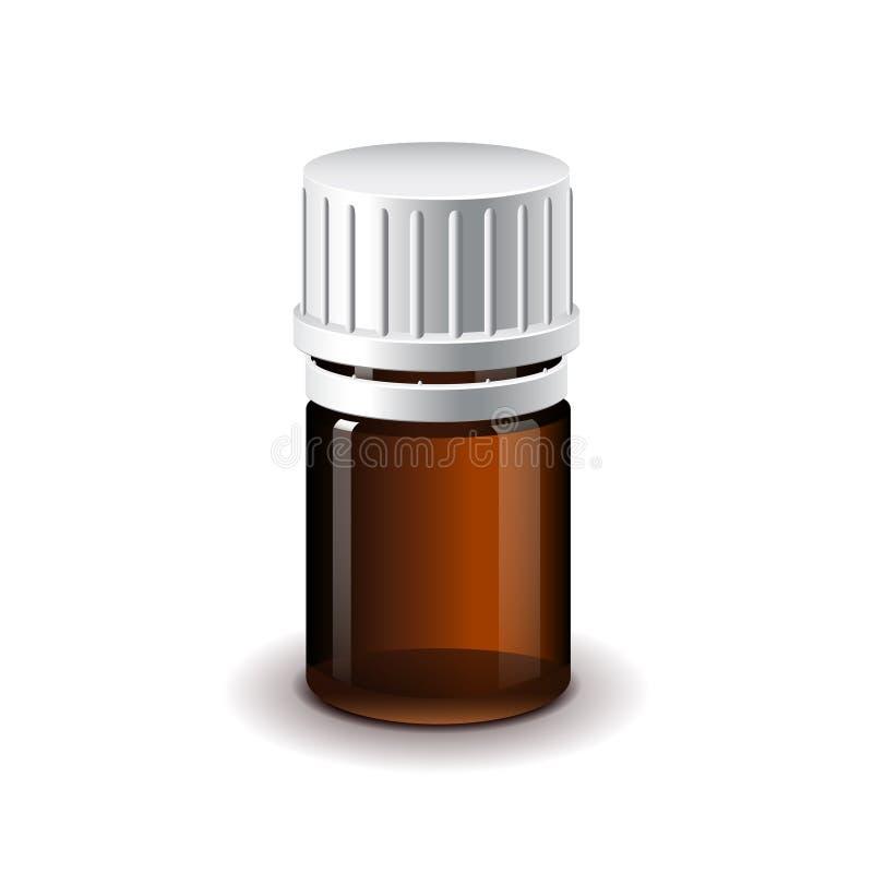 Μικρό ιατρικό σκοτεινό απομονωμένο μπουκάλι διάνυσμα γυαλιού ελεύθερη απεικόνιση δικαιώματος