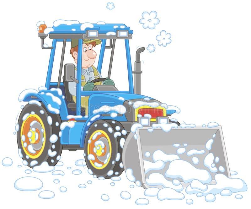 Μικρό καθαρίζοντας χιόνι γκρέιντερ τρακτέρ ελεύθερη απεικόνιση δικαιώματος
