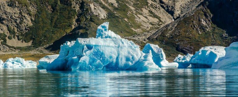 Μικρό και μπλε παγόβουνο κοντά στην ακτή στοκ εικόνα