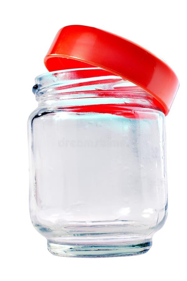 Μικρό κενό βάζο γυαλιού που απομονώνεται στοκ εικόνα