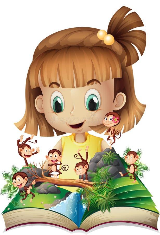 Μικρό κορίτσι και βιβλίο των πιθήκων στη ζούγκλα απεικόνιση αποθεμάτων