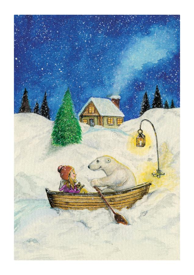 Μικρό κορίτσι και πολική αρκούδα σε μια βάρκα που κωπηλατεί στο χιόνι ελεύθερη απεικόνιση δικαιώματος