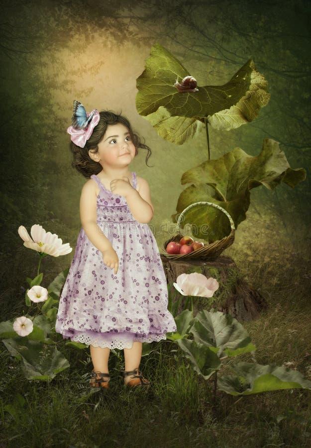 Μικρό κορίτσι και σαλιγκάρι στοκ φωτογραφίες