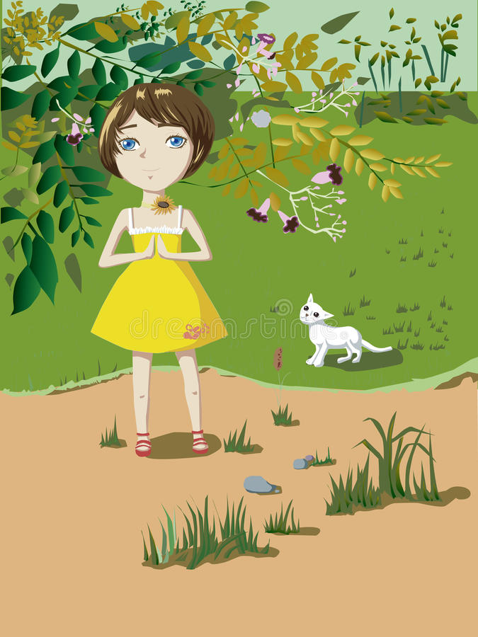 Μικρό κορίτσι με μια γάτα στοκ φωτογραφία