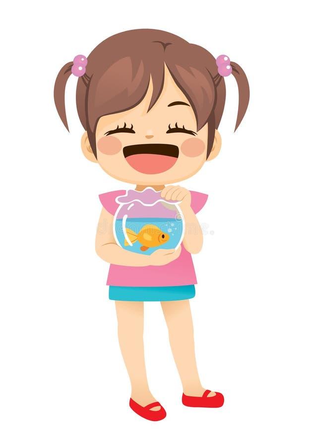 Μικρό κορίτσι με τα ψάρια της Pet ελεύθερη απεικόνιση δικαιώματος