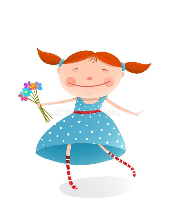 Μικρό κορίτσι με την ανθοδέσμη των λουλουδιών που φορούν το μπλε φόρεμα διανυσματική απεικόνιση