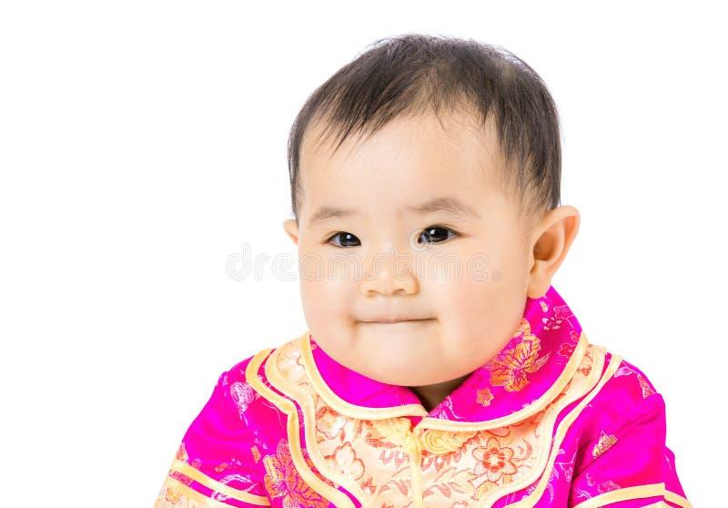 Μικρό κορίτσι με την κινεζική σάλτσα ύφους στοκ εικόνες
