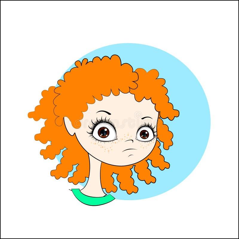 Μικρό κορίτσι με τη σγουρή κόκκινη τρίχα στοκ εικόνες