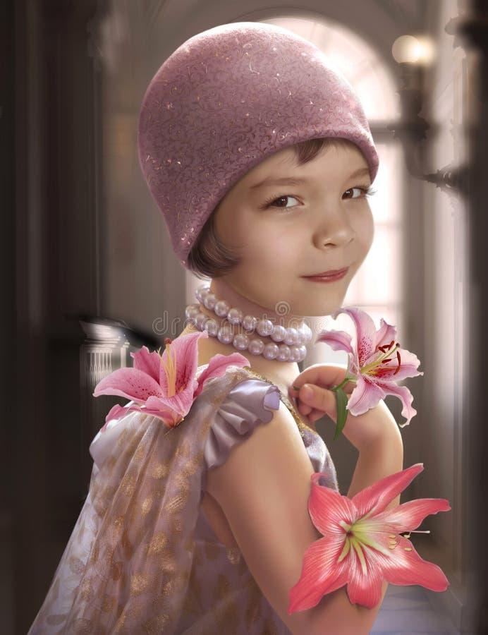 Μικρό κορίτσι με τον κρίνο στοκ εικόνα