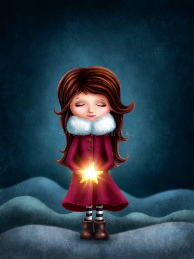 Μικρό κορίτσι με το αστέρι διανυσματική απεικόνιση
