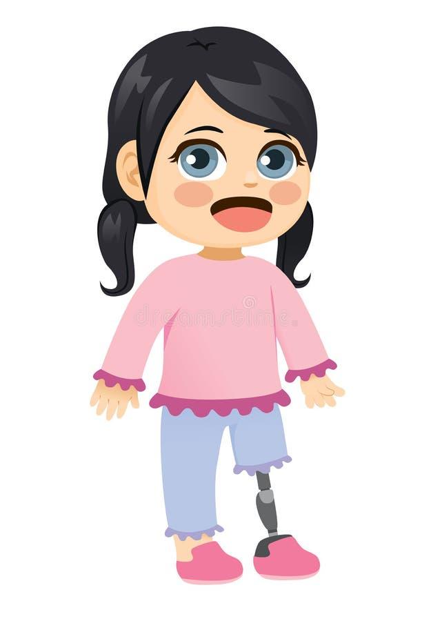 Μικρό κορίτσι με το προσθετικό πόδι διανυσματική απεικόνιση