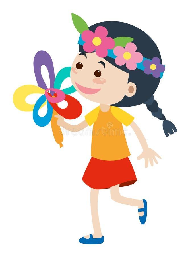 Μικρό κορίτσι με headband λουλουδιών διανυσματική απεικόνιση