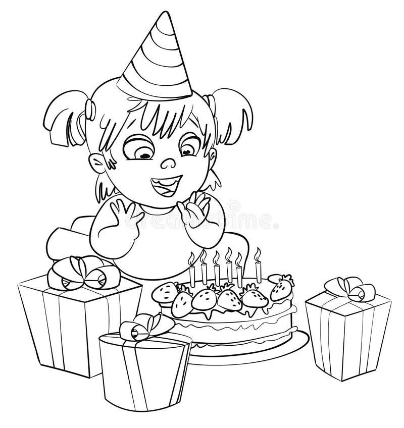 Μικρό κορίτσι που έχει τη διασκέδαση που γιορτάζει τα γενέθλιά της. Χρωματίζοντας βιβλίο απεικόνιση αποθεμάτων