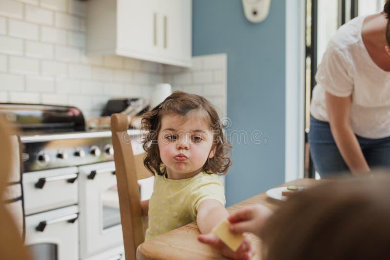 Μικρό κορίτσι που απολαμβάνει τα πρόχειρα φαγητά στοκ φωτογραφία με δικαίωμα ελεύθερης χρήσης