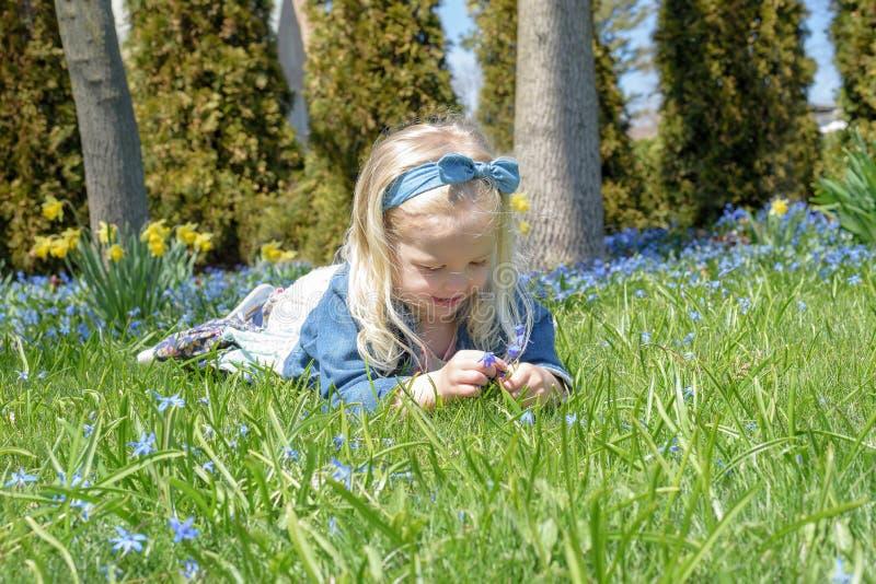 Μικρό κορίτσι που βάζει στα λουλούδια εκμετάλλευσης χλόης στοκ φωτογραφία