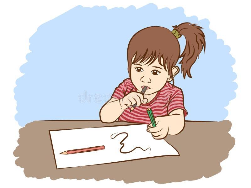 Μικρό κορίτσι που γράφει στο έγγραφο διανυσματική απεικόνιση