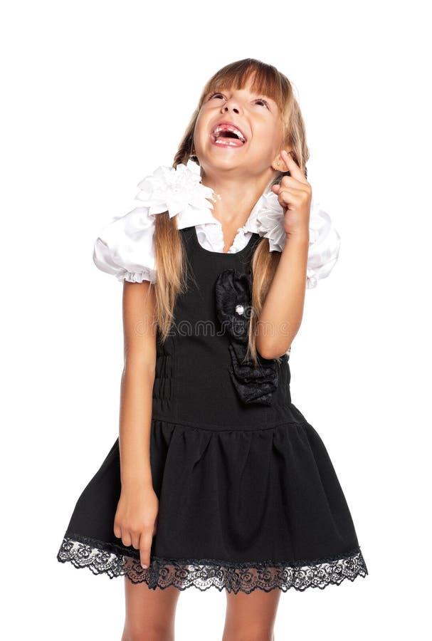 Μικρό κορίτσι που δείχνει το δάχτυλο επάνω στοκ φωτογραφία με δικαίωμα ελεύθερης χρήσης