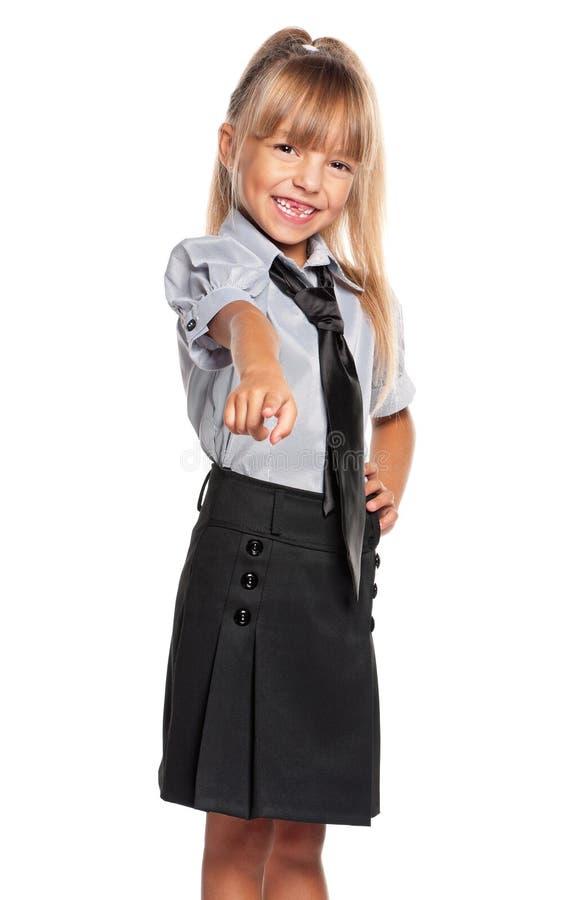 Μικρό κορίτσι που δείχνει το δάχτυλο στη κάμερα στοκ εικόνες με δικαίωμα ελεύθερης χρήσης