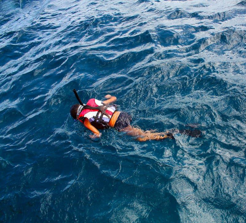 Μικρό κορίτσι που κολυμπά με αναπνευτήρα στον ωκεανό στοκ εικόνες