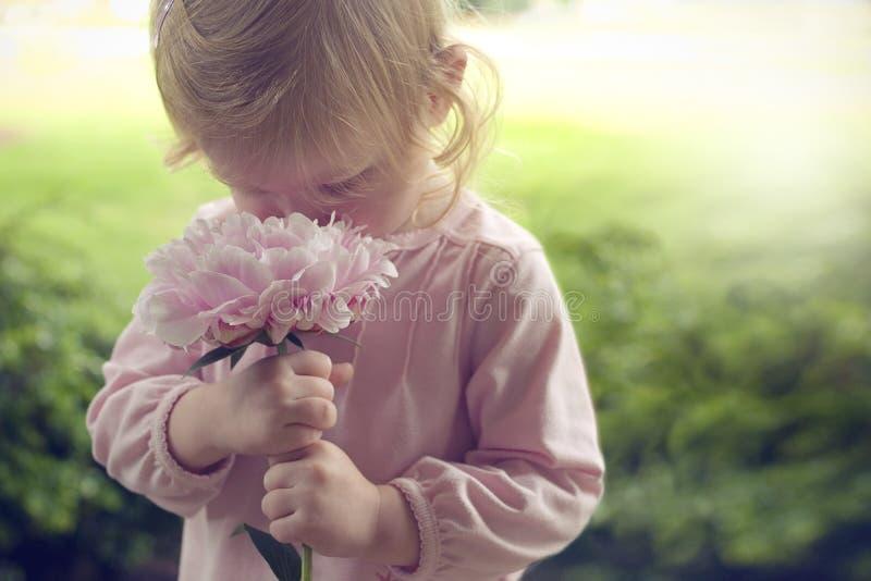 Μικρό κορίτσι που μυρίζει το ρόδινο λουλούδι την άνοιξη στοκ φωτογραφίες
