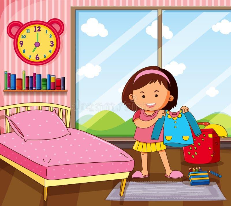 Μικρό κορίτσι που παίρνει το φόρεμα στην κρεβατοκάμαρα διανυσματική απεικόνιση