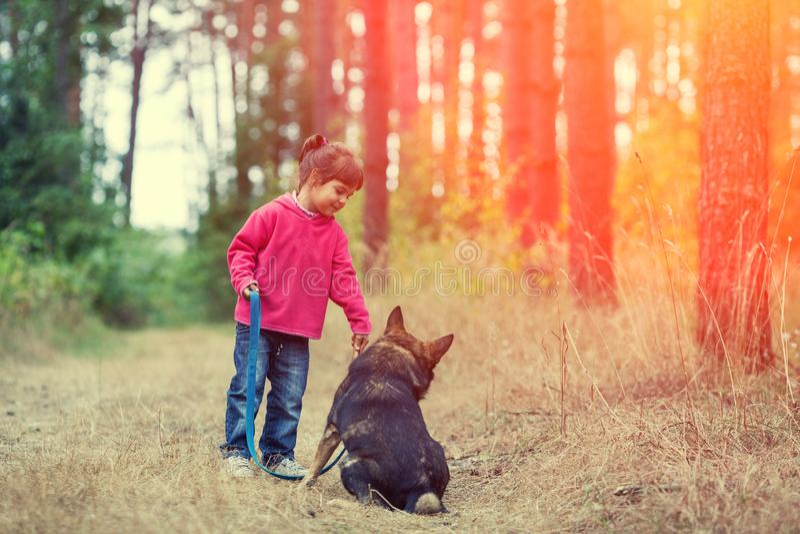Μικρό κορίτσι που περπατά με το σκυλί στοκ φωτογραφίες