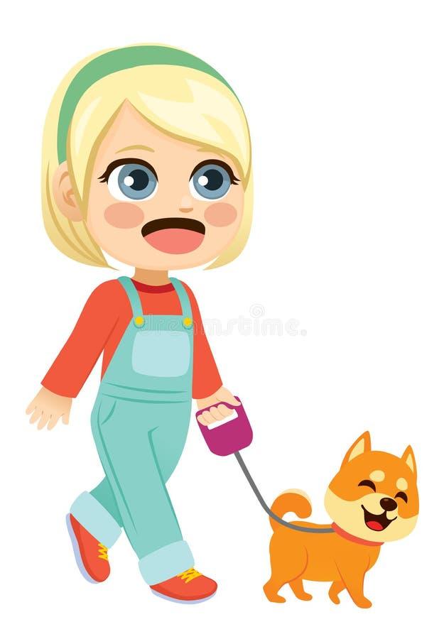 Μικρό κορίτσι που περπατά το σκυλί της Pet ελεύθερη απεικόνιση δικαιώματος