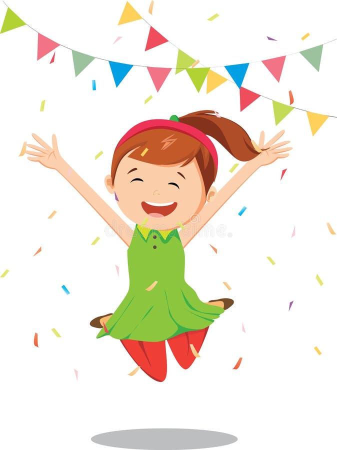 Μικρό κορίτσι που πηδά και που έχει τα γενέθλια εορτασμού διασκέδασης απεικόνιση αποθεμάτων