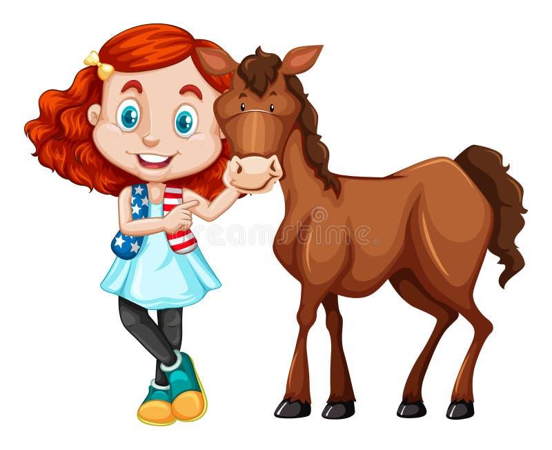 Μικρό κορίτσι που στέκεται με το άλογο διανυσματική απεικόνιση