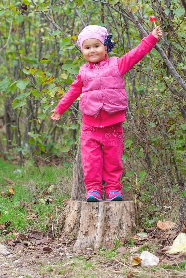 Μικρό κορίτσι που στέκεται σε ένα κολόβωμα στοκ φωτογραφία