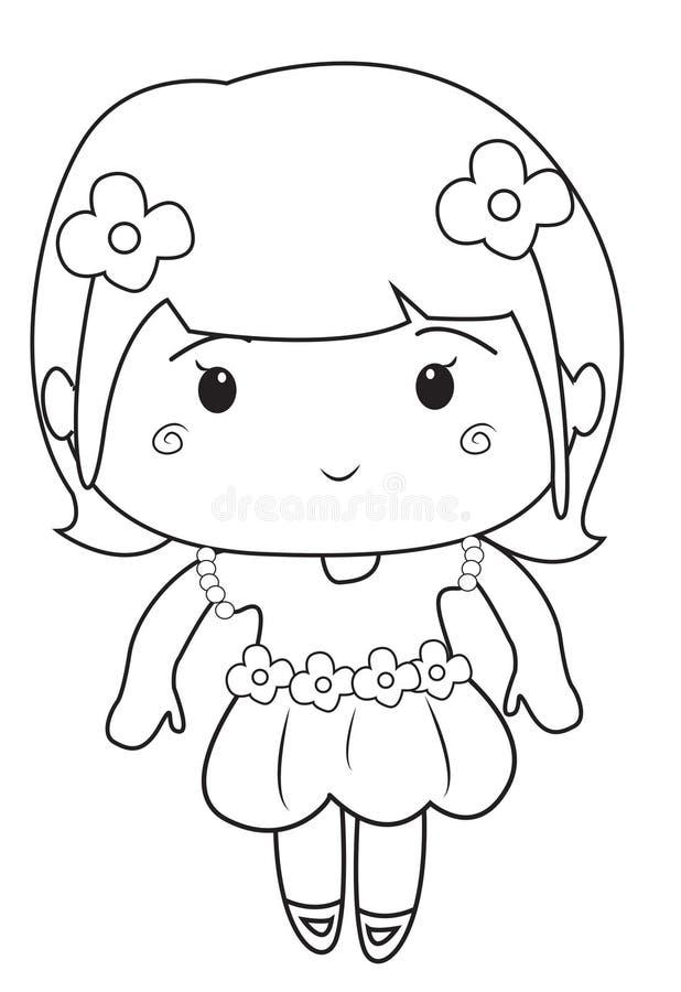 Μικρό κορίτσι που φορά μια χρωματίζοντας σελίδα φορεμάτων ελεύθερη απεικόνιση δικαιώματος