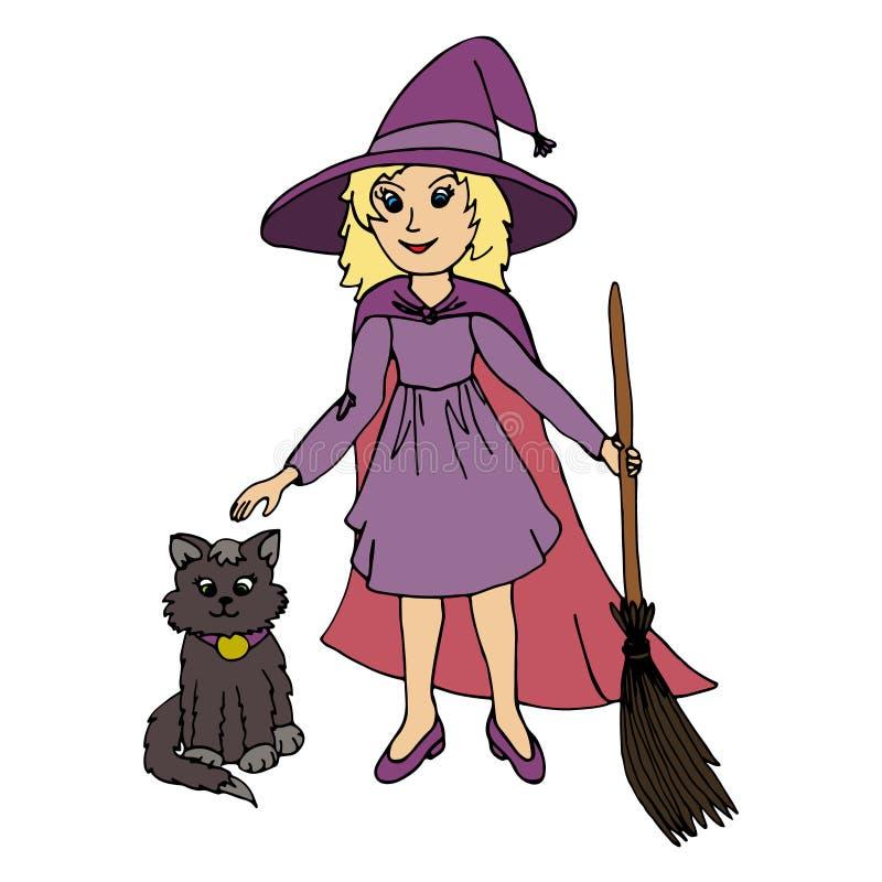 Μικρό κορίτσι που φορά το κοστούμι αποκριών μαγισσών και τη μαύρη γάτα ελεύθερη απεικόνιση δικαιώματος