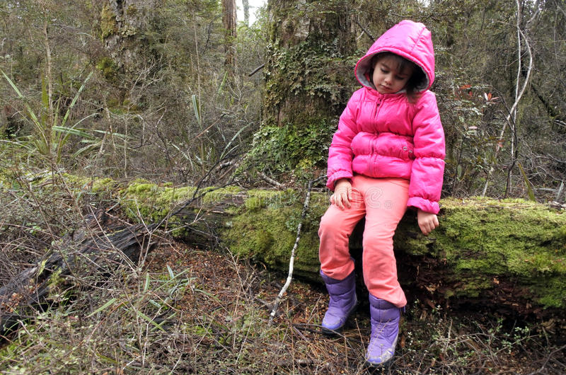 Μικρό κορίτσι που χάνεται σε ένα τροπικό δάσος στοκ εικόνες με δικαίωμα ελεύθερης χρήσης