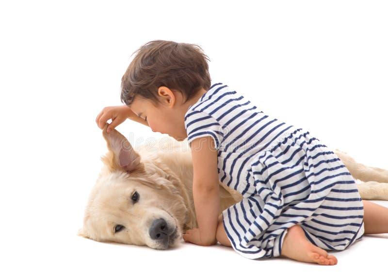 Μικρό κορίτσι που ψιθυρίζει στο σκυλί της που απομονώνεται στοκ εικόνες
