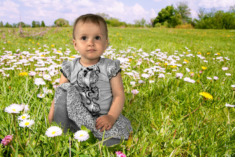 Μικρό κορίτσι σε ένα ανθίζοντας λιβάδι στοκ εικόνα