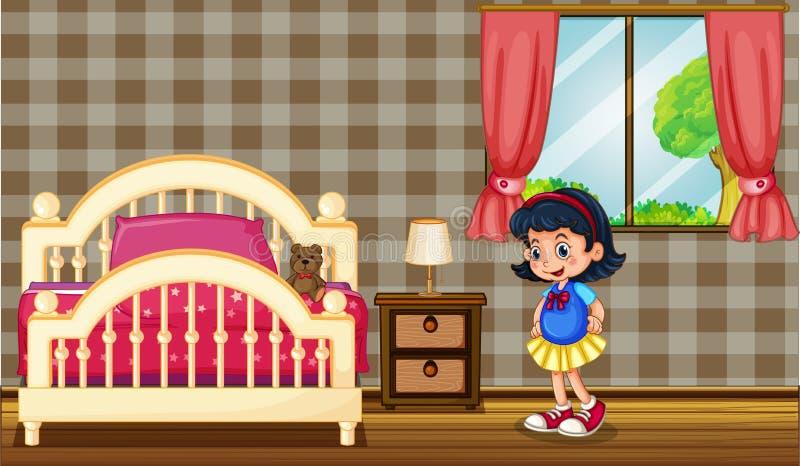 Μικρό κορίτσι στην κρεβατοκάμαρα ελεύθερη απεικόνιση δικαιώματος