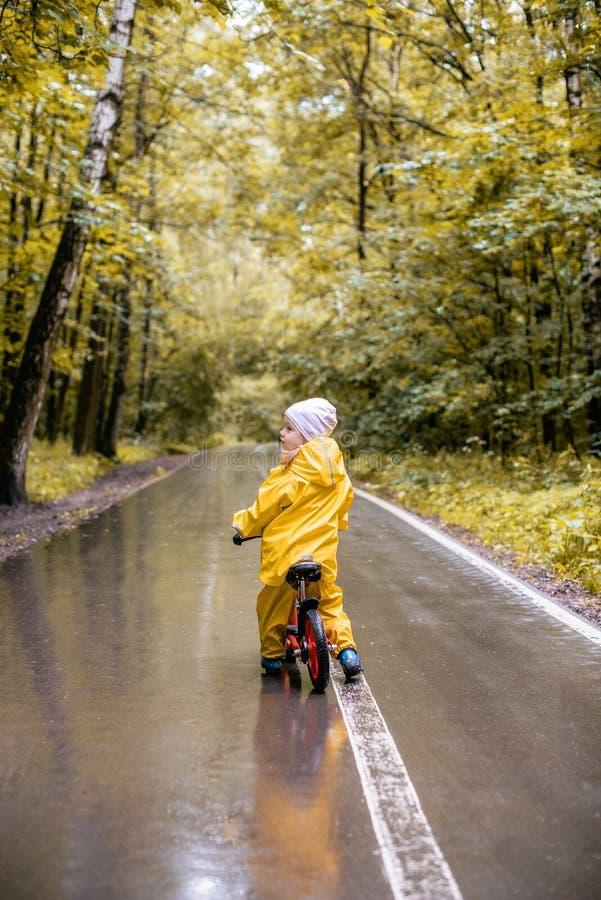 Μικρό κορίτσι στη βροχερή ημέρα στο ποδήλατο σε ένα πάρκο στοκ εικόνα με δικαίωμα ελεύθερης χρήσης
