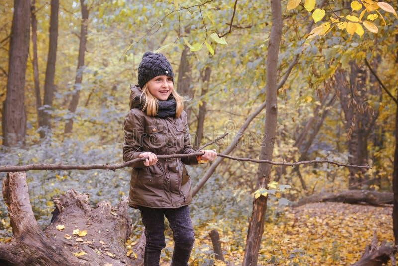 Μικρό κορίτσι στη δασική διάθεση φθινοπώρου φθινοπώρου Ένα παιδί σε ένα κούτσουρο στοκ εικόνες