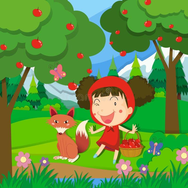 Μικρό κορίτσι στο κόκκινο φόρεμα και ένας λύκος ελεύθερη απεικόνιση δικαιώματος