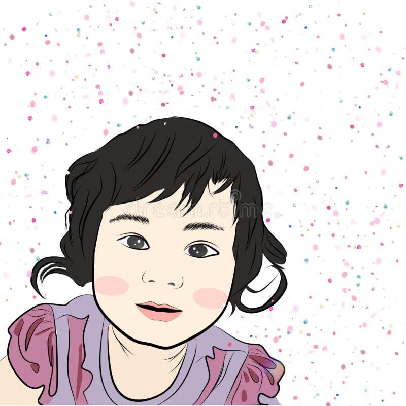 Μικρό κορίτσι στο πλαίσιο ελεύθερη απεικόνιση δικαιώματος