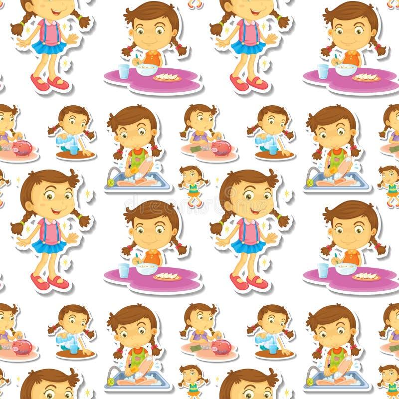 Μικρό κορίτσι Seamle που κάνει τις μικροδουλειές διανυσματική απεικόνιση